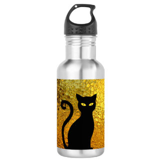 Black Cat Yellow Glass Texture Modern Cat Eyes 532 Ml Water Bottle