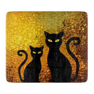 Black Cat Yellow Glass Texture Modern Cat Eyes Cutting Board