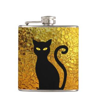 Black Cat Yellow Glass Texture Modern Cat Eyes Hip Flask