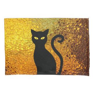 Black Cat Yellow Glass Texture Modern Cat Eyes Pillowcase