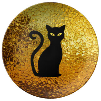 Black Cat Yellow Glass Texture Modern Cat Eyes Plate