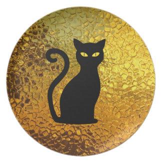 Black Cat Yellow Glass Texture Modern Cat Eyes Plate