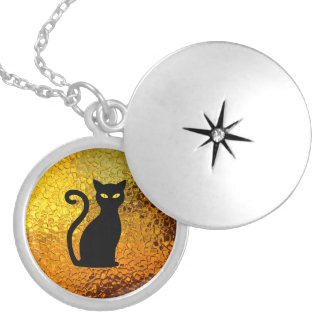 Black Cat Yellow Glass Texture Modern Cat Eyes Silver Plated Necklace