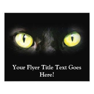 Black Cat, Yellow Green Eyes, Sleek and Spooky 11.5 Cm X 14 Cm Flyer