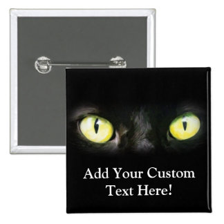 Black Cat, Yellow Green Eyes, Sleek and Spooky 15 Cm Square Badge