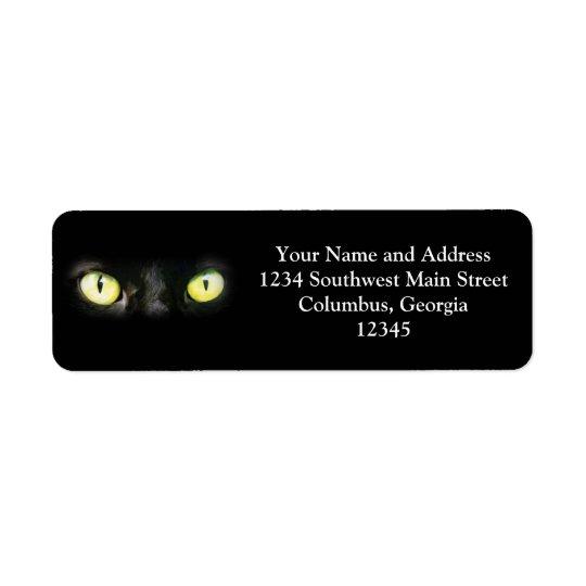 Black Cat, Yellow Green Eyes, Sleek and Spooky Return Address Label