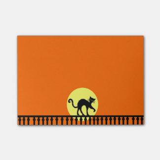 Black Cat Yellow Moon Fence Post-it Notes