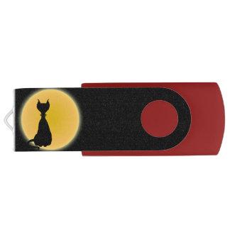 Black Cat & Yellow Moon Halloween Art Swivel USB 2.0 Flash Drive