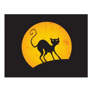 Black Cat - Yellow Moon Postcard