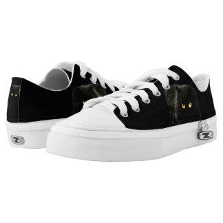 Black Cat Zipz Low Top Sneakers, Printed Shoes