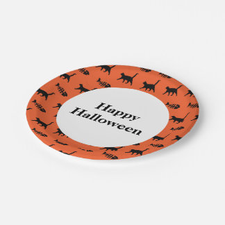 Black Cats and Fish Bones Happy Halloween Paper Plate