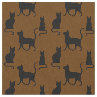 Black Cats/Cat/kitten silhouette on coco brown Fabric