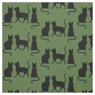 Black Cats/Cat/kitten silhouette on green Fabric