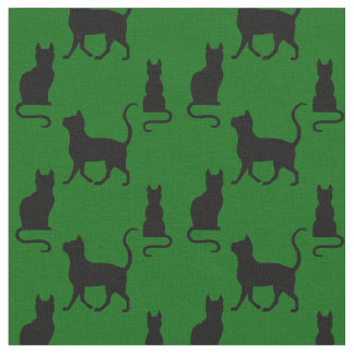 Black Cats/Cat/kitten silhouette on island green Fabric