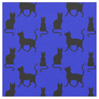 Black Cats/Cat/kitten silhouette on royal blue Fabric
