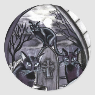 Black Cats Full Moon Graveyard Classic Round Sticker