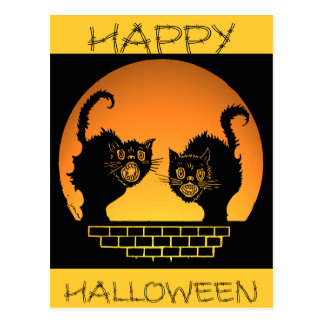 Black Cats Halloween Design Postcard