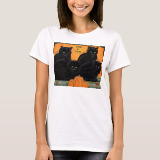 Black Cats Halloween women's baby doll tee