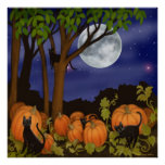 Black Cats in Pumpkin Patch Poster