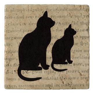 Black Cats on 1850's Ephemera Paper Document Trivet