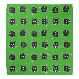 Black Cats on Green Background Bandana