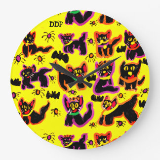 black cats party large clock