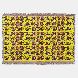black cats party throw blanket
