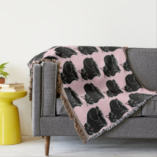 Black Cats Pattern Light Pink Throw Blanket