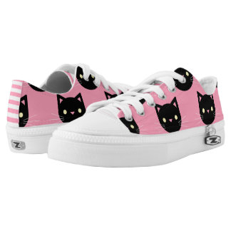 Black Cats Pattern Low Tops