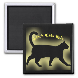 Black Cats Rule Square Magnet