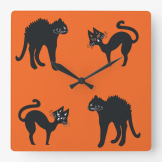 Black Cats Square Wall Clock