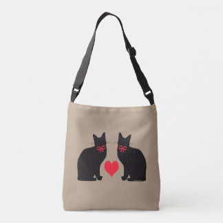 """Black Cats w/ Heart"" Khaki Cross Body Bag"