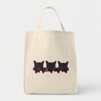 Black cats with autumn leaves grocery tote bag