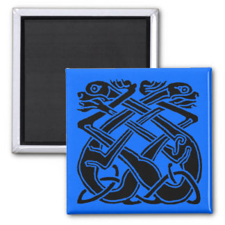 Black Celtic Dogs Square Magnet