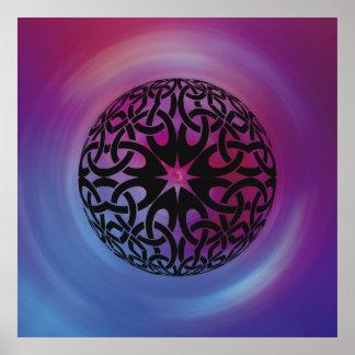 Black Celtic knot circle Poster