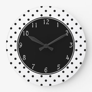 Black centre with Small Black Polka dots white bac Clocks
