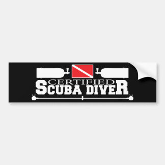 Black Certified Scuba Diver Bumper Sticker