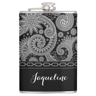 Black Chain Paisley Hip Flask