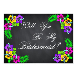 Black Chalk Board Floral Will you be my Bridesmaid 13 Cm X 18 Cm Invitation Card
