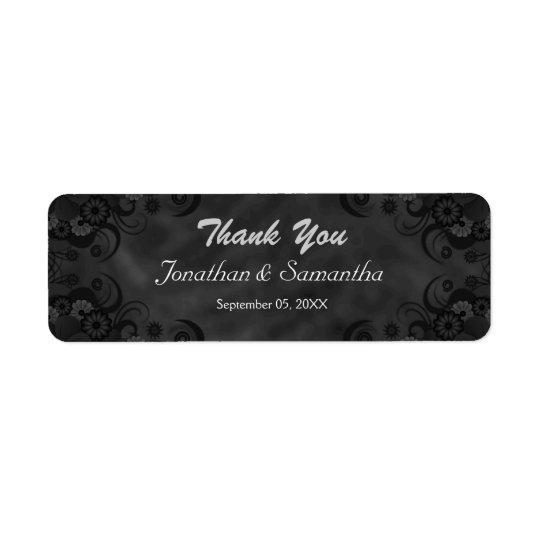 Black Chalkbaord Floral Small Wedding Favour Return Address Label