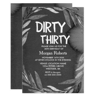 Black Chalkboard Dirty Thirty 30th Birthday Invite