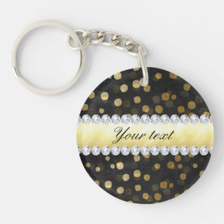 Black Chalkboard Gold Confetti Diamonds Double-Sided Round Acrylic Key Ring