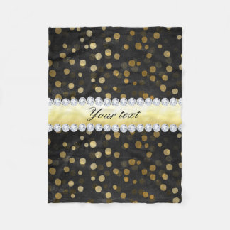 Black Chalkboard Gold Confetti Diamonds Fleece Blanket