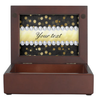 Black Chalkboard Gold Confetti Diamonds Keepsake Boxes