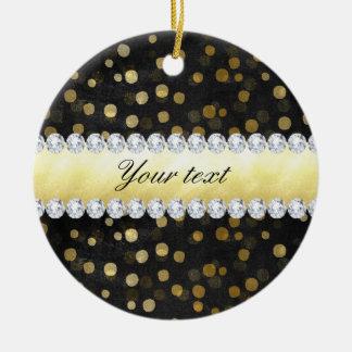 Black Chalkboard Gold Confetti Diamonds Round Ceramic Decoration