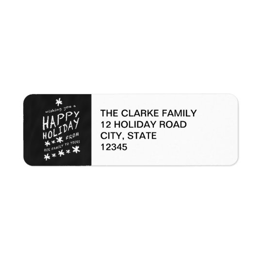 BLACK CHALKBOARD HAPPY HOLIDAY ADDRESS LABEL