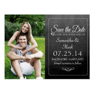Black Chalkboard Photo Save the Date Postcard