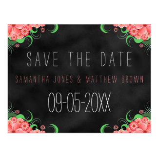 Black Chalkboard Pink Floral Save The Date Card Postcard
