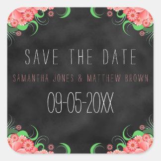 Black Chalkboard Pink Floral Save The Date Sticker