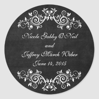 Black Chalkboard Rustic White Flourishes Wedding Classic Round Sticker
